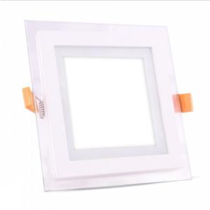 LED panel χωνευτό 12W 6400K Λευκό Τετράγωνο γυάλινο