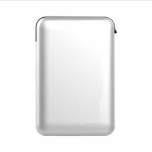Power Bank 5000mAh με λευκό σώμα με ενσωματωμένο γκρι καλώδιο