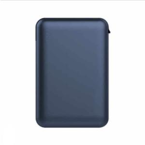 Power Bank 5000mAh με μπλε σώμα με ενσωματωμένο μαύρο καλώδιο