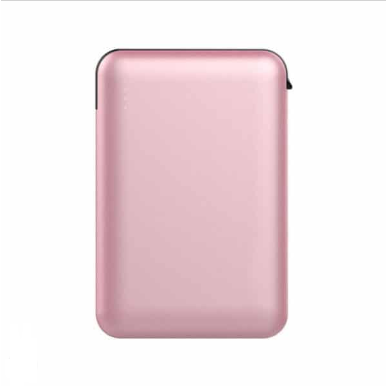 Power Bank 5000mAh με ροζ σώμα με ενσωματωμένο μαύρο καλώδιο