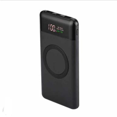 Power Bank 10000mAh, ασύρματο, μαύρο σώμα με 2 θύρες USB + TYPE C και ψηφιακή οθόνη