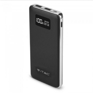 Power Bank 10000mAh με οθόνη και μαύρο σώμα με 2 θύρες USB