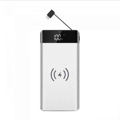 Wireless Power Bank 20000mAh με λευκό σώμα και ενσωματωμένο καλώδιο micro USB