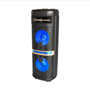 120W RECHARGEABLE SPEAKER-1WIRELESS+1WIRED MICROPHONE-RF CONTROL-HANDLE & WHEELS(2*10inch)