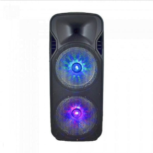 150W RECHARGEABLE SPEAKER-1WIRELESS+1WIRED MICROPHONE-RF CONTROL-HANDLE & WHEELS(2*15inch)