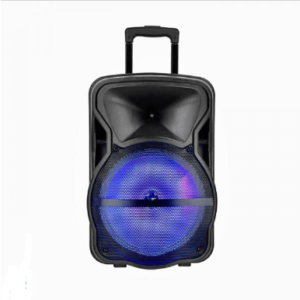 50W RECHARGEABLE TROLLEY SPEAKER WITH ONE WIRED MICROPHONE-RF CONTROL-RGB (15inch)