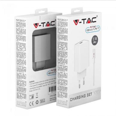 Συσκευή φόρτισης ταξιδίου με προσαρμογή καλωδίου MICRO USB, Λευκό σώμα