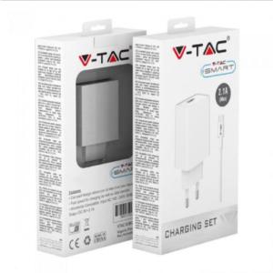 Συσκευή φόρτισης ταξιδίου με προσαρμογή καλωδίου TYPE-C, Λευκό σώμα