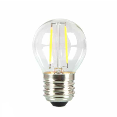 Λάμπα LED E27 G45 SAMSUNG CHIP, Filament 4W Θερμό λευκό 2700K Γυαλί διάφανο