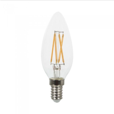 Λάμπα LED E14 Κερί Samsung Chip Filament 4W Θερμό λευκό 2700K Διάφανο