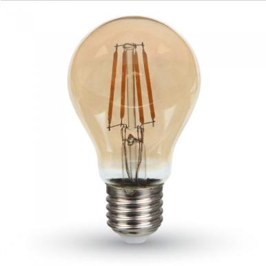 Λάμπα LED E27 A60 Samsung Chip Filament 4W Θερμό λευκό 2200K Amber cover