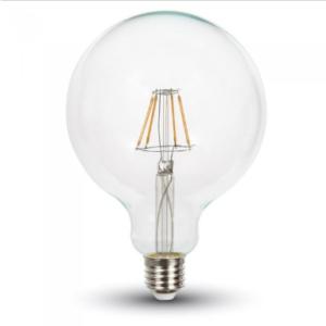 Λάμπα LED E27 G125 Samsung Chip Filament 6W Θερμό λευκό 2700K Διάφανο