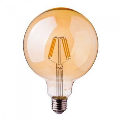 Λάμπα LED E27 G95 Samsung Chip Filament 6W Θερμό λευκό 2200K Amber cover