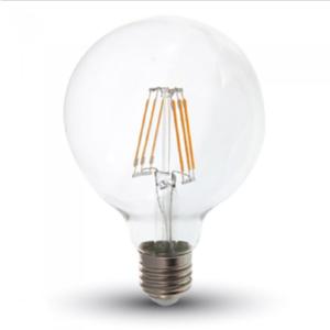 Λάμπα LED E27 G95 Samsung Chip Filament 6W Θερμό λευκό 2700K Διάφανο
