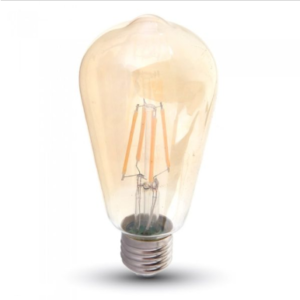 Λάμπα LED E27 ST64 Samsung Chip Filament 6W Θερμό λευκό 2200K Γυαλί amber