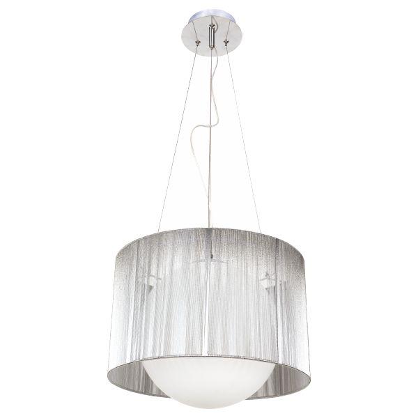 Φωτιστικό Οροφής Μονόφωτο Σφαίρα με Αμπαζούρ Ασημί Ε27 Ø32mm 126/S
