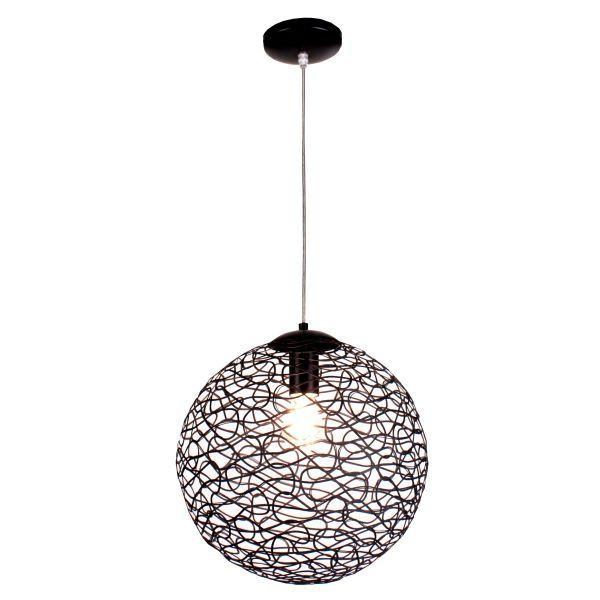 Φωτιστικό Οροφής Μονόφωτο Μπάλα Πλέγμα Μαύρο E27  Ø35mm  2052