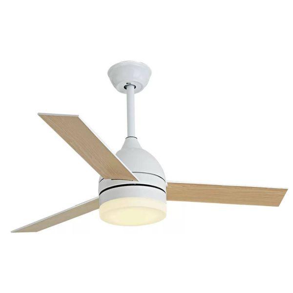 Ανεμιστήρας Οροφής LED 24W με 3 Πτερύγια Ξύλο Λευκό