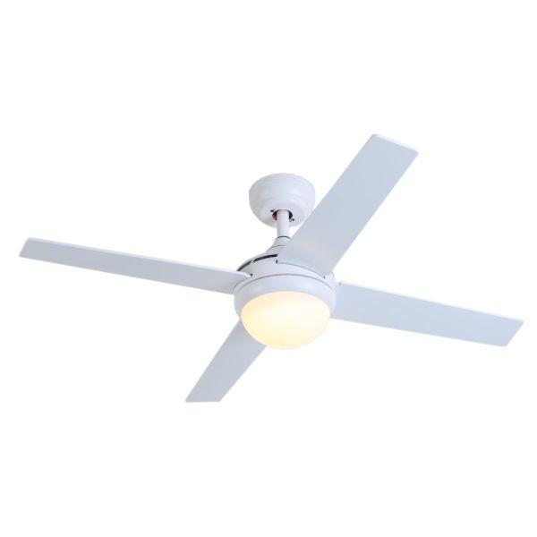 Ανεμιστήρας Οροφής LED 18W με 4 Πτερύγια Ξύλο Λευκό