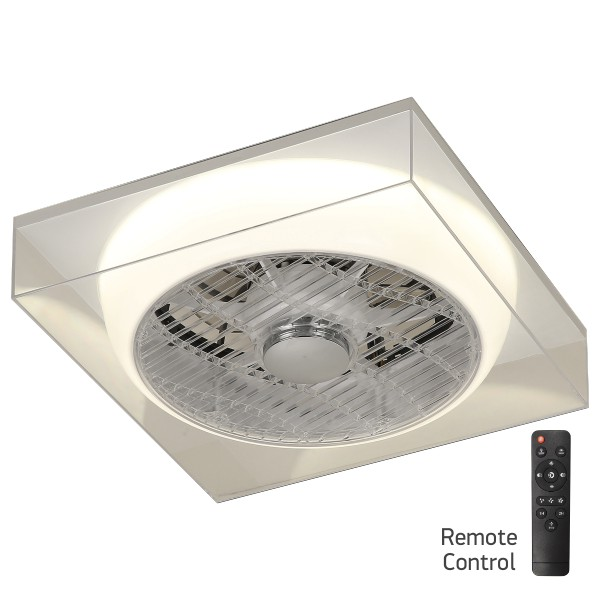 Ανεμιστήρας Οροφής LED 36W με Γκρι Διάφανο Plexiglass  Τετράγωνο